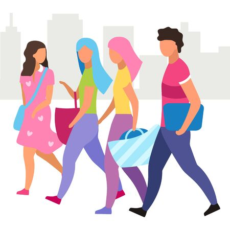 Group of people walking street flat vector illustration. Friends walk and talking together cartoon characters. Girls and guy spending time. Tourists, students have city stroll. Friendship concept