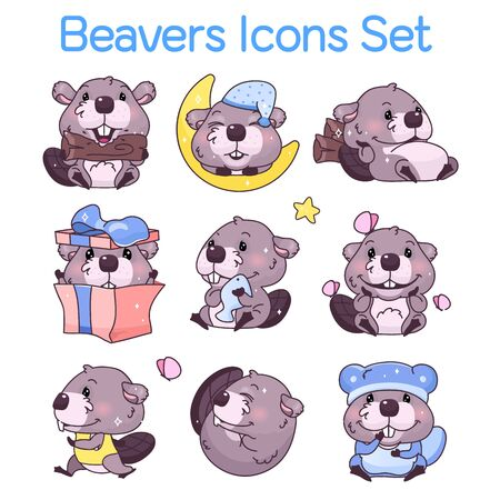 Cute beavers kawaii cartoon characters icons set. Adorable, happy and funny animal in different poses, emotions isolated sticker, patch. Anime baby beavers vector emoji on white background