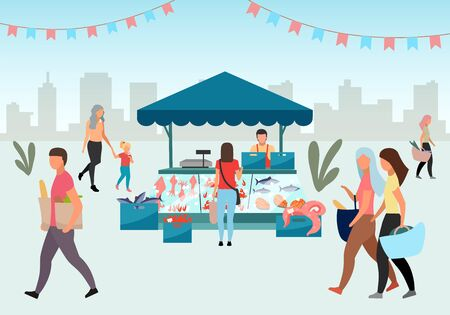 Street fishmarket flat illustration. People walk summer fair, outdoor market stall with seafood. Fresh sea food trade tent, fish counter. Customers with purchases in local shops cartoon characters Illustration