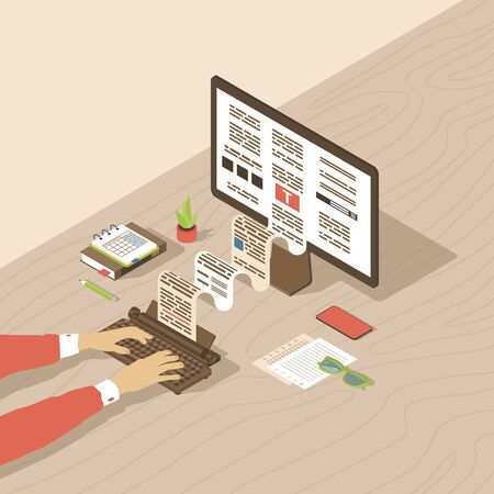 Copywriting, content creation isometric illustration. Editor, copywriter, book author typing text with typewriter. Blog article, essay writing, storytelling 3d concept. Freelance copywriter workplace Illustration