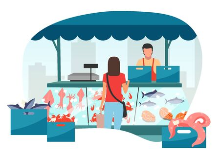 Woman buying seafood at street market stall flat illustration. Fresh sea food in ice trade tent, fish counter. Fair, summer market stand. Customer in local fishmarket outdoor shop cartoon character