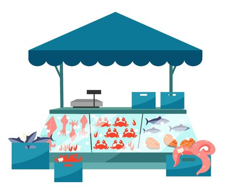 Seafood market stall flat illustration. Fresh sea food in ice trade tent, fish counter. Fair, summer market stand. Local fishmarket outdoor street shop, cartoon kiosk isolated on white background Illustration