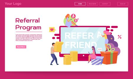 Referral program landing page vector template. Social sharing, refer a friend website interface idea with flat illustrations. Influencer marketing, PR campaign web banner, webpage cartoon layout