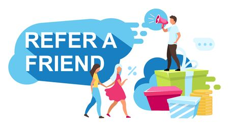 Refer a friend flat vector illustration. Referral rewards, bonuses. Customer attraction strategy, loyalty programs. Referral, influencer marketing cartoon concept. Marketer with clients characters