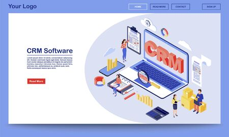 CRM software isometric landing page vector template. Working process, workflow organization and optimization service website interface. Customer relationship management system 3d concept 일러스트