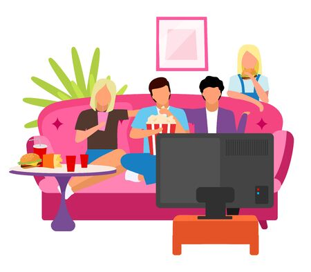 Friends together watching movie flat illustration. Guys and girls spending time, evening at home with TV cartoon characters. Students watch film. Best friends company sitting on sofa, eating snacks Illustration