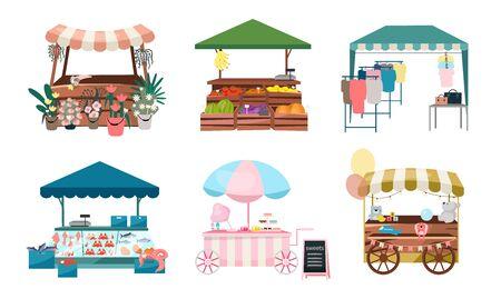 Marktstände flache Vektorgrafiken eingestellt. Faire Kirmeszelte, Outdoor-Kioske und Karren. Street Shopping platziert Cartoon-Konzepte. Sommermarkttheken für Blumen, Gemüse, Bekleidungsartikel Vektorgrafik