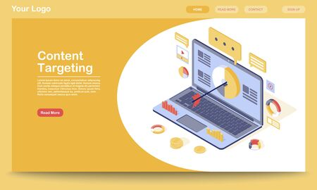 Targeting & content marketing landing page template. Lead generation, audience attraction website interface with flat illustration. SMM, media advertising homepage layout. Web banner, webpage concept
