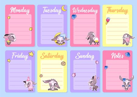 Cute donkeys weekly planner vector template with kawaii cartoon character. Notepad, diary pages design layouts with copyspace for daily notes and lists. Girlish personal organizer vector mockup