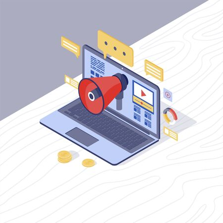 Digital marketing strategy isometric vector illustration. Inbound & content marketing 3d concept. Media audience attraction. PR campaign, online promotion. Laptop with megaphone and content