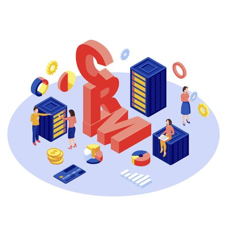 CRM database, server isometric vector illustration. Client data storage and management automation software 3d concept isolated on white. Ecommerce digital technology. Customer manager, experts working