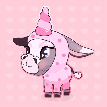 Cute donkey kawaii cartoon vector character. Adorable and funny animal in unicorn costume isolated sticker, patch, girlish illustration. Anime baby girl mule, burro emoji on pink background