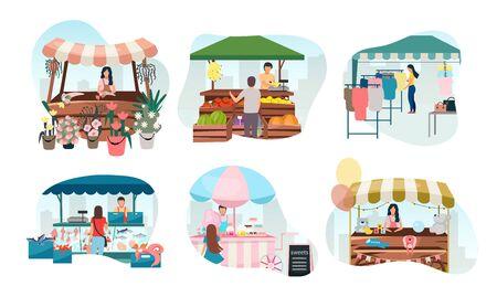 Conjunto de ilustraciones vectoriales planas de puestos de mercado callejero. Carpas de feria, feria comercial, quioscos al aire libre y carritos con vendedores. Concepto de dibujos animados de lugares comerciales. Mostradores del mercado del festival de verano para vender productos.