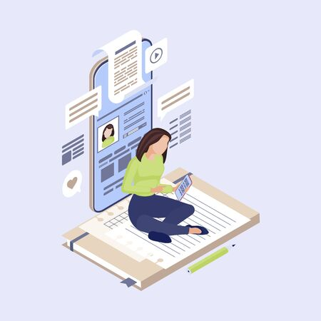 Content marketing isometric vector illustration. SMM manager, content writer, copywriter creating social media post. Copywriting, digital inbound marketing 3d concept. Blogger, freelancer character Illustration
