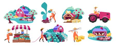 Farm flat vector illustrations set. Horticulture and vegetable gardening. Farmers market produce concept. Cattle, livestock and poultry farming. Agricultural plantation. Rural, village farmland Иллюстрация