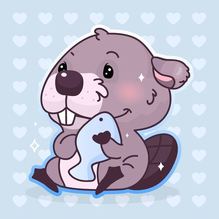 Cute beaver kawaii cartoon vector character. Adorable, happy and funny animal hugging fish isolated sticker, patch. Anime satisfied baby boy beaver with food emoji on blue background