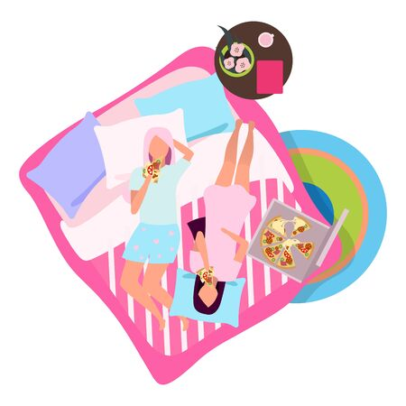 Sleepover party with pizza flat illustration. Girlfriends in pajamas on bed cartoon characters. Best girl friends spending time together, meeting. Female friendship concept. Young women slumber party  イラスト・ベクター素材