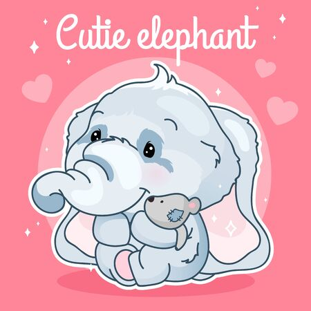 Cute elephant kawaii character social media post mockup. Cutie elephant lettering. Positive poster template with animal hugging plush toy. Social media content layout. Print, kids book illustration Иллюстрация