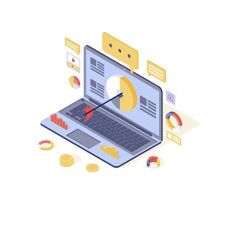 Targeting & content marketing isometric vector illustration. Media audience attraction, lead generation isolated 3d concept. Inbound marketing strategy, advertising campaign, online promotion Ilustração