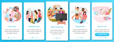 Friends together onboarding mobile app screen vector template. Shopping pastime, pizza and movie time. Walkthrough website steps with flat characters. UX, UI, GUI smartphone cartoon interface concept