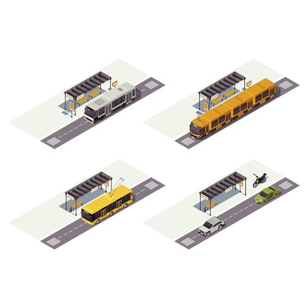 City transport isometric color vector illustration. Public urban transportation infographic. Bus stop. Tram, trolleybus, cars and motorcycle. Auto 3d concept isolated on white background