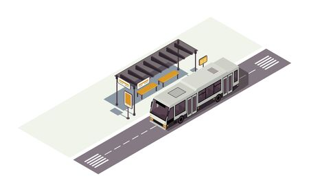 Bus stop isometric color vector illustration. Waiting station. Public urban transportation infographic. City transport. Town traffic. Auto 3d concept isolated on white background