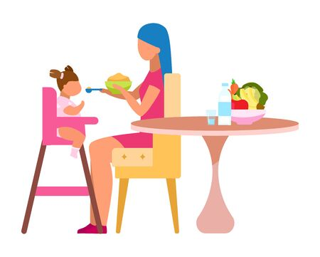 Mother feeding baby flat vector illustration. Healthy ingredients for little children isolated cartoon character on white background. Fruits, vegetables, dairy products in child balanced nutrition Ilustración de vector