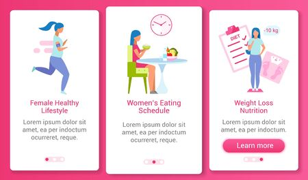 Woman healthy lifestyle onboarding mobile app screen vector template. Food schedule, weight control walkthrough website steps with flat characters. UX, UI, GUI smartphone cartoon interface concept