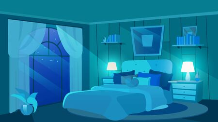 Female bedroom at night flat vector illustration. Luxury estate interior with modern furniture. Cartoon bed with cushions, heart-shaped pillow, trendy picture above. Bedside tables with lamps, plants