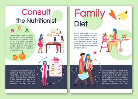 Consulting nutritionist brochure template. Flyer, booklet, leaflet concept with flat illustrations. Vector page layout for magazine. Healthy family nutrition, advertising invitation with text space