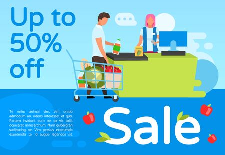 Supermarket sale brochure template. Flyer, booklet, leaflet concept with flat illustrations. Vector page layout for magazine. Grocery store discount advertising leaflet with text space