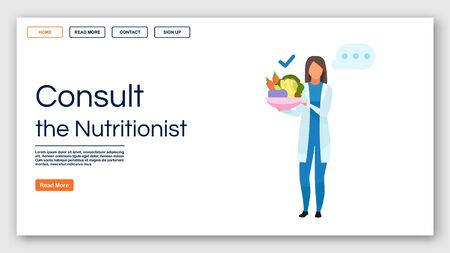 Nutritionist recommendations landing page vector template. Consulting dietitian website interface idea with flat illustrations. Healthy food homepage layout. Web banner, webpage cartoon concept