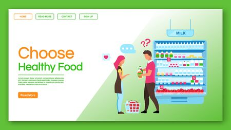 Choose healthy food landing page vector template. Family shopping, consumerism website, webpage. Consumers buying products, couple doing purchases in grocery store cartoon character Illusztráció