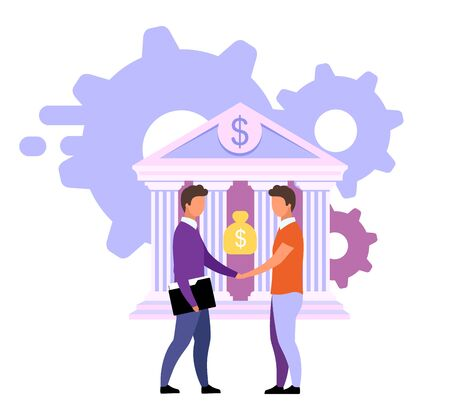 Banking deals and offers flat vector illustration. Customized solutions isolated metaphor on white. Banker and investor, bank client handshaking cartoon characters. Investment, loan, deposit concept