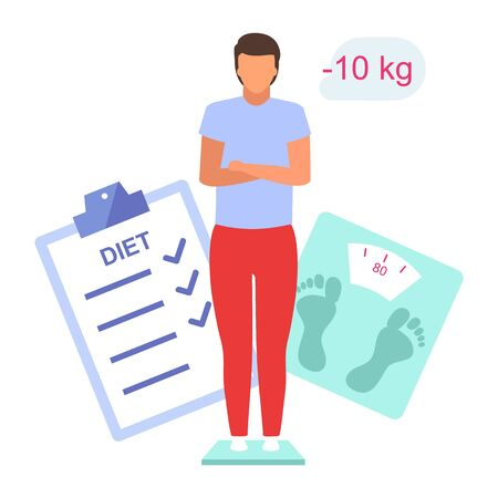 Man losing weight flat vector illustration. Young boy controlling body mass standing on scales isolated cartoon character on white background. Male patient on diet, happy with weight loss result  イラスト・ベクター素材
