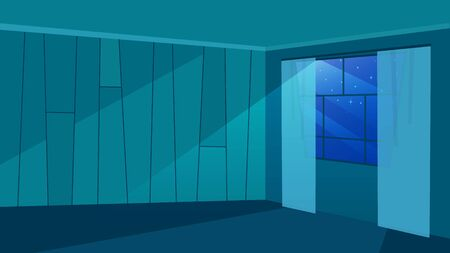 Empty room in moonlight rays flat vector illustration. Trendy walls with geometric pattern. Modern windowpane with curtains. Minimalist architecture, house apartment design in darkness view 일러스트