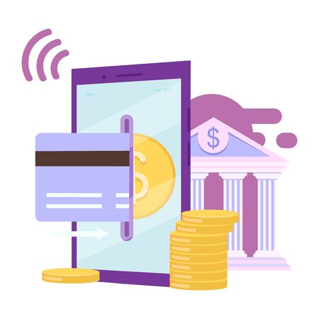 Banking app flat vector illustration. Credit card financial transactions cartoon concept. E payment, online bill pay by smartphone isolated metaphor on white background. Ewallet, ebanking application