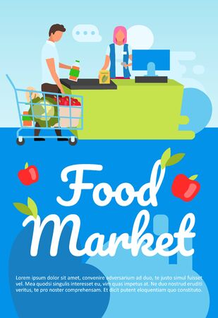 Food market poster vector template. Grocery store shopping. Brochure, cover, booklet page concept design with flat illustrations. Supermarket purchases. Advertising flyer, leaflet, banner layout idea