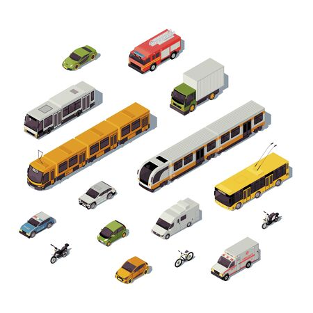 City transport isometric color vector illustration. Urban transportation infographic. Train, bus, bicycle. Trackless trolley. Emergency help services. Auto 3d concept isolated on white background