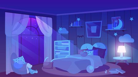 Kids bedroom night time view flat vector illustration. Soft toy, books and cushions lying on floor. Trendy wallpapers with picture, bookshelves, lampshade. Modern girlish bed with blanket Vettoriali