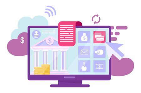 Online banking account flat vector illustration. Digital wallet, ewallet services cartoon concept. Financial management. Ebanking transactions, internet billing system isolated metaphor on white