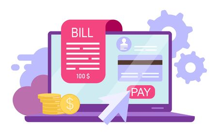 Bill pay flat vector illustration. Online payment, instant credit card transactions isolated cartoon concept on white background. Online receipt, invoice. Banking service. Epayment, ewallet account