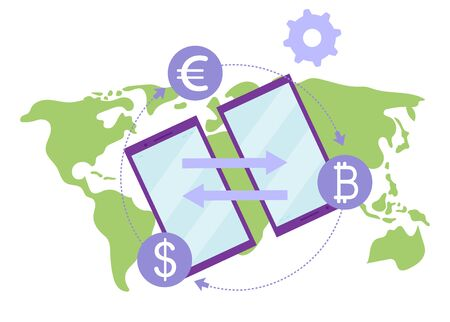 Money transfer flat illustration. International financial transactions and currency conversions rates concept. Remittance service. E payment gateway, fintech. Peer to peer global payments metaphor Illustration