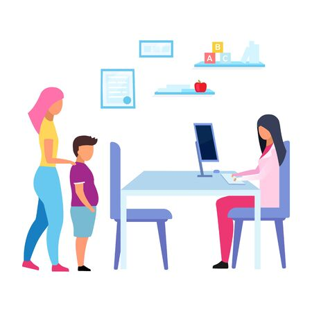Teenage obesity problem flat vector illustration. Mother and son visiting physician, nutritionist isolated cartoon characters on white background. Dietitian consulting overweight child in hospital