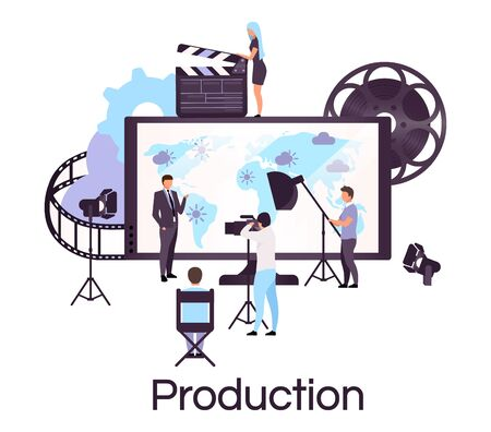 Weather and news broadcasting flat concept icon. Press and mass media sticker, clipart. Newscast, forecast studio crew. Video production, reportage. Isolated cartoon illustration on white background Banque d'images - 131979001