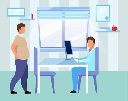 Obese man visiting doctor flat vector illustration. Overweight adult consulting nutritionist cartoon characters. Male physician, dietitian examining patient with obesity problem in hospital 일러스트