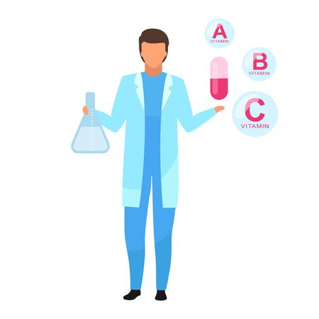 Vitamin capsule medication flat vector illustration. Nutritionist explaining synthetic vitamin components isolated cartoon character on white background. Pharmacologist promoting food supplement  イラスト・ベクター素材