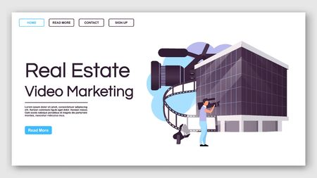 Real estate video marketing landing page vector template. House advertisement website interface idea with flat illustrations. Building commercial homepage layout. Web banner, webpage cartoon concept