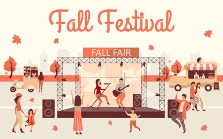Fall festival flat illustration. Autumn harvest and Thanksgiving day event advertising poster. Fall fair lettering. Rock fest, carnival with street food truck. Musicians on stage cartoon characters