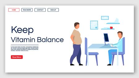 Keeping vitamin balance landing page vector template. Doctor consulting patient website interface idea with flat illustrations. Healthy nutrition homepage layout. Web banner, webpage cartoon concept